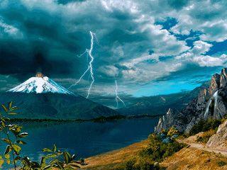 Der Bildschirmschoner zeigt eine schön animierte Vulkan-Landschaft.