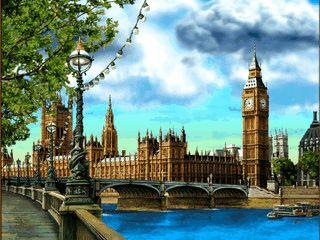 Bildschirmschoner mit Sehenswürdigkeiten der Metropole London.