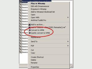 Einfachste Konvertierung von Audio Dateien in das WMA  Format.