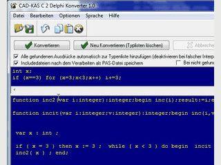 Konvertieren Sie C Quellcode in Delphi/Pascal Quellcode.