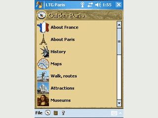 Paris Cityguide für PDAs mit Pocket PC oder Windows Mobile PDA