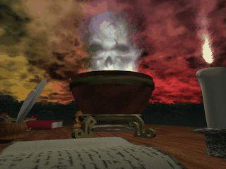 Zeigt das Gefδί eines Alchemisten aus dem Rauch und Nebel aufsteigt