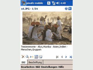 Bilder auf dem PDA betrachten, aussortieren und mit Notizen versehen.