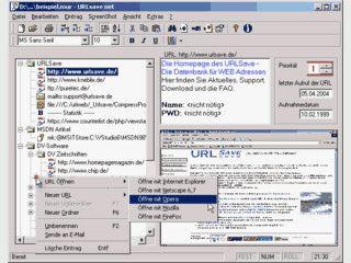Datenbank für WEB Adressen mit Vorschaubild und Passwortschutz.