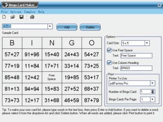 Generierung von Karten für das Bingospiel mit Begriffen