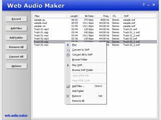 Konvertiert Audio-Dateien in Macromedia SWF Flash Dateien.