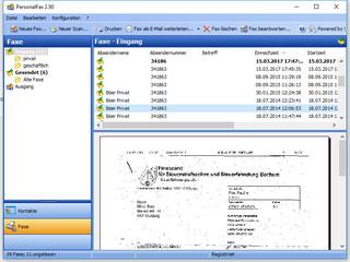 Erstellung, Versand und Empfang von Fax-Nachrichten via ISDN oder Modem.