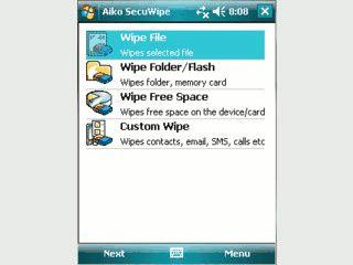 Sicheres Löschen von Daten und Spuren auf PDAs mit Windows Mobile.