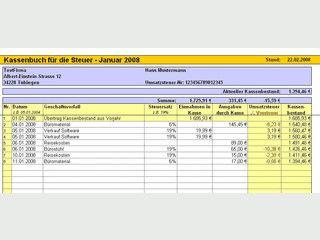 Kassenbuch für Excel und OpenOffice zur Vorlage beim Finanzamt.