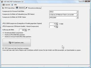 Komprimiert bestehende PDF Dateien mit diversen Verfahren.