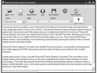 Liest Texte vor und kann diese auch als MP3/WAV-Datei speichern.