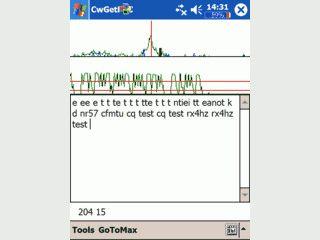 Dekodiert Morsecode der via Soundeingang empfangen wird.
