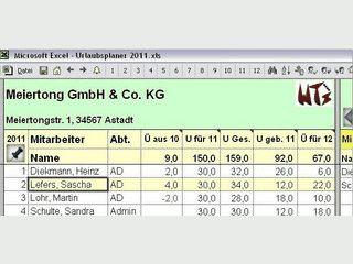 Abwesenheits- und Urlaubsplaner für Excel 2007 mit Statistiken und Auswertungen