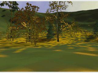 Einfacher 3D Bildschirmschoner der eine herbstliche Szenerie zeigt.