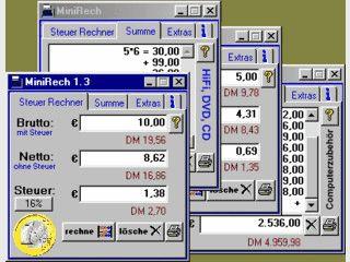 MiniRech ist ein kleiner kaufmännischer Rechner inklusive Euro / DM Umrechnung.