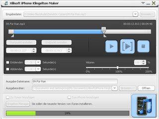 Klingeltöne aus beliebigen Video- oder Musikdateien erstellen.