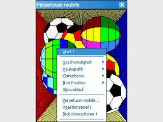 Perpetuum mobile realisiert sich ständig bewegende und rotierende Bälle.