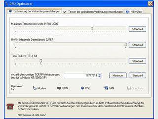 Optimale Einstellungen für das DFÜ-Netzwerk einstellen