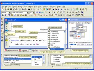 JavaScript Editor mit Code-Library und Syntaxüberprüfung.