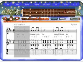 Zeigt wie Kinderlieder auf der Gitarre gespielt werden mit TABs und Noten