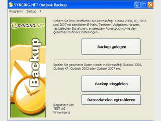 Backup Software für Microsoft Outlook 2000 bis 2007.