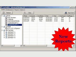 Überwachung von lokalen und Netzwerk-Druckern. Druckaufträge werden gespeichert.