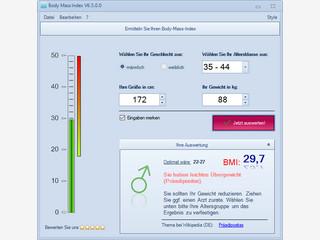 Software zur Berechnung des Body-Mass-Index mit zusätzlichen Informationen.