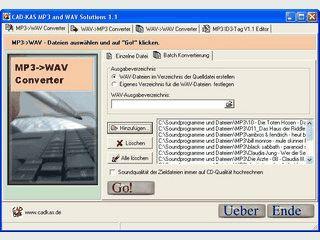 Einfaches und schnelles umwandeln von MP3- und  WAV-Dateien hin und zurück.