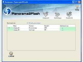 Stapel-Veröffentlichung von gestitchten Panoramabildern in Flash-Animationen.