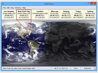 Weltzeit-Uhr mit Anzeige der aktuellen Sonnenposition.