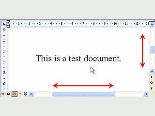 In Dokumenten vertikal und horizontal ohne Maus mit Scrollrad scrollen.