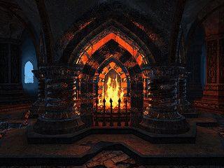 Brennendes Kaminfeuer in einer unterirdischen Zwergen-Halle.