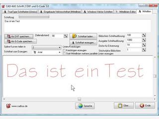 Erzeugen Sie einfach Schriftzüge und speichern Sie das Ergebnis als DXF Datei