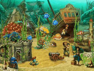 Comic-Unterwasserwelt als Bildschirmschoner