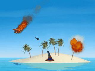 Spiel für zwei Spieler in dem sich eine Bodenrakete und ein Flugzeug bekriegen.
