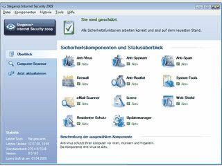 Internet Security-Suite mit AntiVirus, AntiRootkit, Firewall, AntiSpam usw.