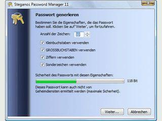 Passwortdatenbank die auch vom USB-Stick verwendet werden kann.