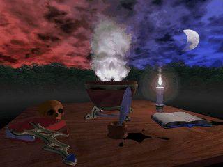 Bildschirmschoner der das mysteriöse Labor eines Alchemisten zeigt.