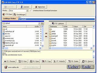 FTP-Client zum Übertragen von Dateien zwischen einem PC und einem FTP-Server.