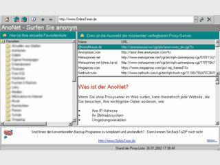 AnoNet verschleiert Ihre Identität gegenüber den Webseiten die Sie besuchen.