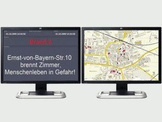 Anzeige von Einsatzinfos der Feuerwehr mit Stadtplan und Multimonitor