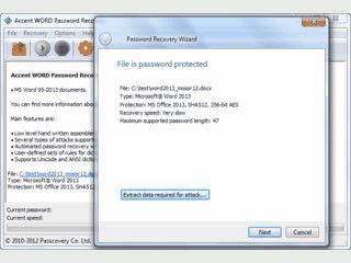 Software zur Wiederherstellung von MS Word Passwörtern.