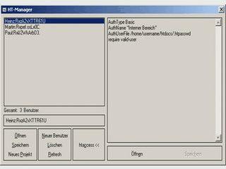 Software zur Erstellung und Verwaltung von htaccess und htpasswd Dateien.