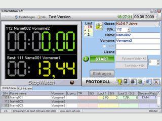 Hand- oder elektronische Zeitmessung mit Lichtschranken.