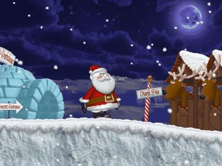 Kindgerechtes Jump'n Run bei dem der Weihnachtsmann Geschenke verteilt.