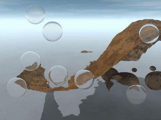 Blasen bewegen sich vor einem Hintergrundbild.