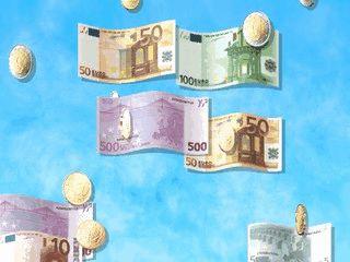 Die neuen EURO Geldstücke und Geldscheine schweben über Ihren Bildschirm.