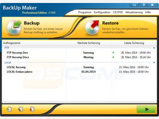BackUp Maker sichert Ihre Daten vollautomatisch auf CD/DVD/USB.