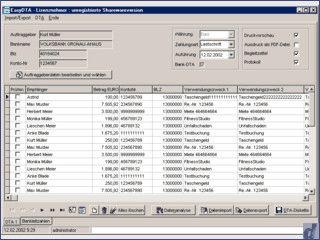EasyDTA erstellt DTA-Dateien mit Lastschriften/Überweisungen.Datenimport.
