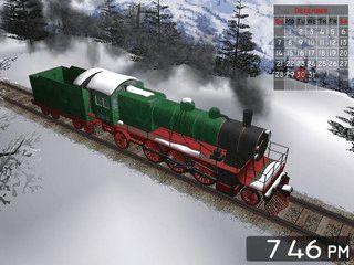 3D Bildschirmschoner der einen fahrenden Zug in einer Winterlandschaft zeigt.